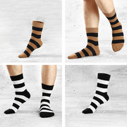 Mens Thick Winter Breathable Cotton Comfortable Stripe Socks Casual Sports Middle Tube Socks