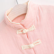Chinese Style Girls Boys Stand Collar Long Sleeve Tops