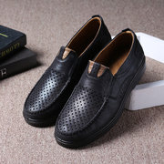 Men Hole Breathable Large Size Slip On Soft Sole Casual Driving Shoes