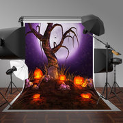 Halloween Skeleton Tree Cemetery Photography Pumpkin Background Cloth