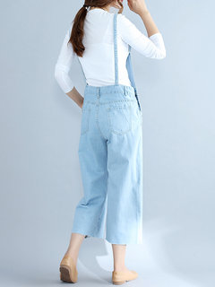 Vintage Strap Pocket Sky Blue Denim Jumpsuits For Women