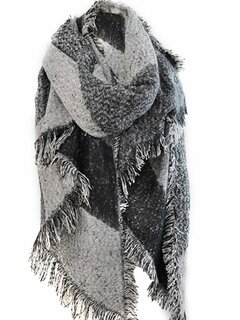 Tassel Contrast Cashmere Thick Wool Casual Women  Shawl Scarves Cape
