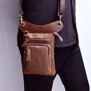 Multi-fonctionnelle Vintage en cuir véritable 8 pouces téléphone sac taille sac sac à bandoulière sac pour les hommes