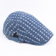 Mens Women Vintage Holes Washed Denim Beret Caps Casual Sunshade Newsboy Flat Hat
