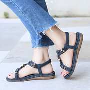 LOSTISY Opened Toe Beaded Breathable Summer Flat Slip On Sandals