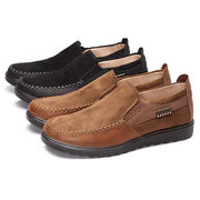 Big Size Suede Match Metal Buckle Slip On Flat Casual Shoes For Men