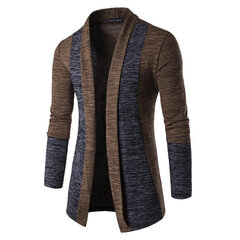Mens Casual Open Stitching Hit Farbe Schlank Mid-Long Knit Cardigan