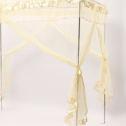 1.2~1.8M Retro Lace Bed Mosquito Net With Bracket  Netting Yellow King Queen Style Bed Decor