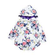 Floral impressão meninas Romper com capuz Bodysuit Outfit para 0-24M