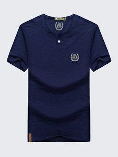 T-shirt décontracté à manches courtes en coton respirant à col en V pour hommes