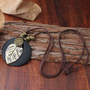 Ethnic Wood Alloy Leaf Pendant Necklaces Vintage Leather Rope Long Sweater Necklaces Gift for Women