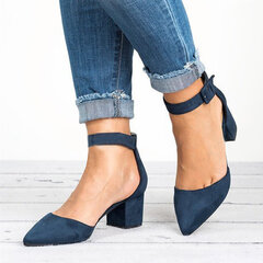Pointed Toe Chunky Heel Buckle Pumps