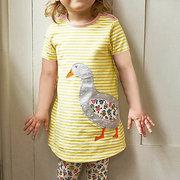 Vestito casuale da estate a maniche corte per bambina con disegni animali per 1Y-7Y