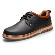 Men Metal Eyelets Big Head Pure Color Lace Up Casual Oxford Shoes