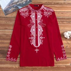 Dashiki Мужская с длинным рукавом Рубашка Традиционная африканская печатная кнопка вниз Рубашка