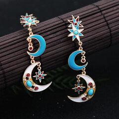 البوهيمي الأزرق القمر حلق طويل نمط أشابة أقراط نجمة القمر قطرة الأذن للنساء