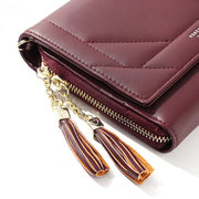 Women Faux Leather Tassel Plain Shoulder Bag Crossbody Wallet Purse
