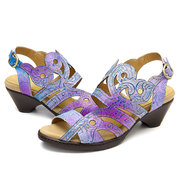 SOCOFY Vintage Gradient Color Genuine Leather Splicing Pattern Comfortable Buckle Strap Sandals