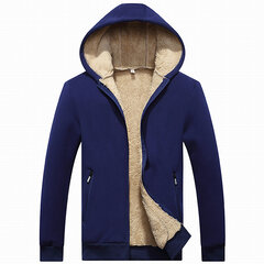 Mens Winter Warm Thick Fleece Lining Thermal Hoodies Solid Color Zip Up Casual Coat