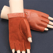 Women Mens Half Finger Goat Skin Non-slip Driving Glove Outdoor Sport Genuine Leather Tactical Glove