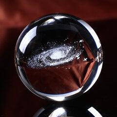 6 cm Gravado A Laser 3D Galaxy Bola De Cristal De Quartzo De Vidro Acessórios Para Casa de Astronomia Miniaturas Presentes