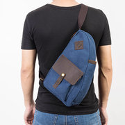 Man Canvas Sling Bag Patchwork Genuine Leather Multifunction Bag Casual Chest Bag