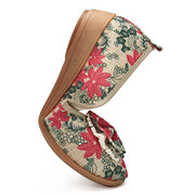 Plus Size Women Casual Cloth Shoes Crafts Flowers Slip on Flats