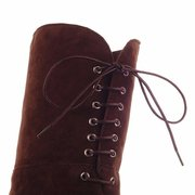 Over The Knee Black Brown Heel Increasing Lace Up Suede Boots For Women