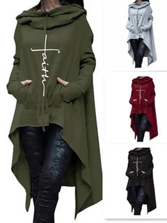 Casual Solid Color Embroidery Irregular Hem Long Hoodie for Women
