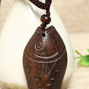 Vintage Style Handmade Wood Fish Pandent Casual Sweater Long Charm Necklace Ethnic Jewelry for Women