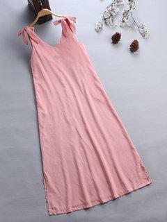 Bowknots V Neck Solid Color Straps Maxi Dress