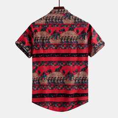 Mens Little Eleplant Printed Ethnic Style Short Sleeve Loose Casual Shirt