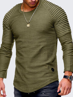 Mens Irregular Hem Cotton Breathable Solid Color O-neck Long Sleeve Slim Casual T Shirt