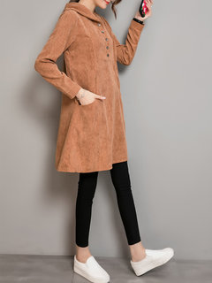 Women Corduroy Long Sleeve Hooded Buttons Casual Dresses