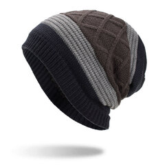 Mens Wool Velvet Knit Hat Warm Winter Outdoor Casual Snow Cycling Casual Home Beanie