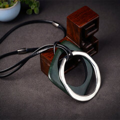 Ethnic Statement Geometric Wood Metal Pendant Necklaces Adjustable Retro Leather Necklaces for Women