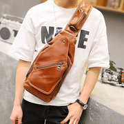 Multi Pocket PU Leather Chest Borsa Crossbody Borsa Casual Shoulder Borsa per uomo