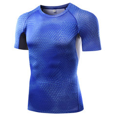 Mens Printed Elastic Quick-drying Skinny Fitness T-shirts Breathable Jogging Short Sleeve Tops