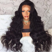 Middle Score Natural Black Long Curly Hair High Temperature Silk Wig Chemical Fiber Lace wig