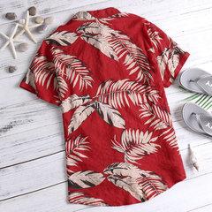 Mens Hawaiian Palms Printing Beach Seaside Cotton Breathable Shirts