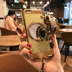 Women Cute Solid Camera Style TPU Back Cover iPhone Phone Case With Lanyard