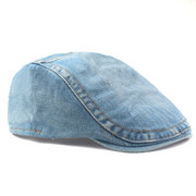 Men Embroidery Hat Vintage Washed Denim Beret Cap Outdoor Travel Adjustable Visor Hat
