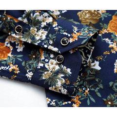 S-5XL زائد الحجم عارضة أزياء الأزهار الطباعة طويلة الأكمام اللباس قميص للرجال