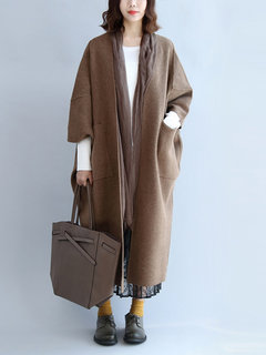 Solid Color 3/4 Sleeve Pockets Oversized Long Coats