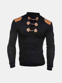 Mens Fall Winter Horns Buttons Design Patchwork Knitted Stand Neck Casual Sweaters
