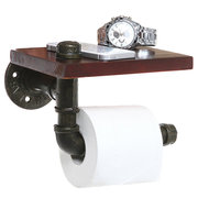 Rustic Style Iron Pipe Design Bathroom Shelf / Toilet Paper Roll Holder Black Metal Brown Wood