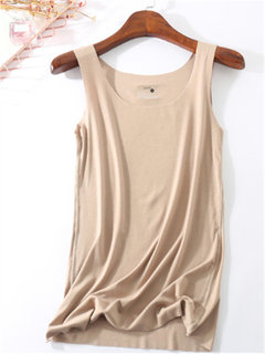 Solid Color Sleeveless U-neck Tank Tops
