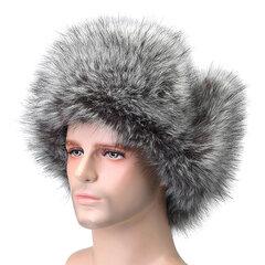 Chapka Hiver Homme Épais Chaud en Fausse Fourrure Chapeau de Ski Coupe-vent avec Protège-oreilles pour Plein Air