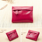 Women Genuine Leather Candy Color Casual Short Wallet Ladies Elegant Cards Purse