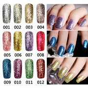 12 цветов Яркий алмаз-лента Glitter Nail Art UV Gel Polish Soak Off